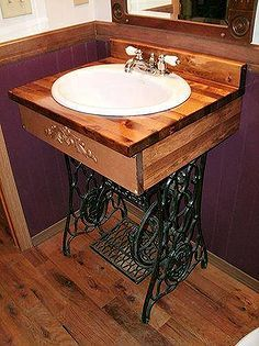 original idea for all those old singer sewing machine bases, bathroom ideas, repurposing upcycling