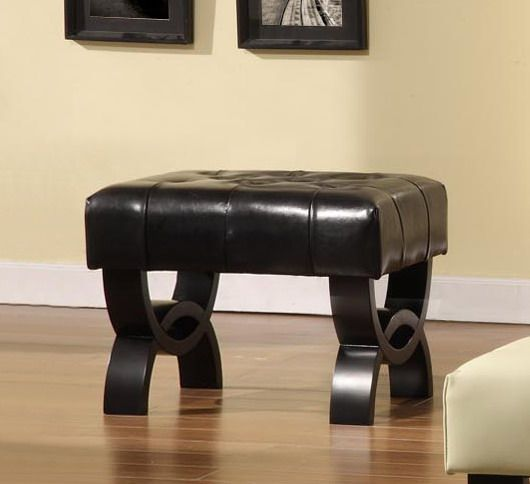 Armen Central Park 24in. Tufted Black Leather Ottoman.