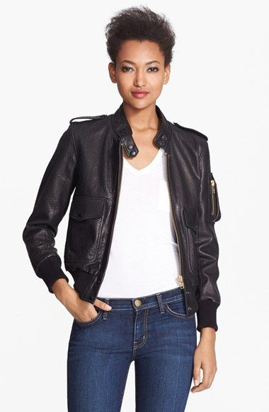 $1,295, Black Leather Bomber Jacket: Smythe Leather Bomber Jacket. Sold by Nordstrom. Click for more info: https://lookastic.com/women/shop_items/51372/redirect
