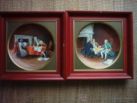 ANTIGUOS PLATOS DE PORCELANA BONE CHINA PINTADOS A MANO. ROYAL RICK. GERMANY. 25 Cm. - Foto 1