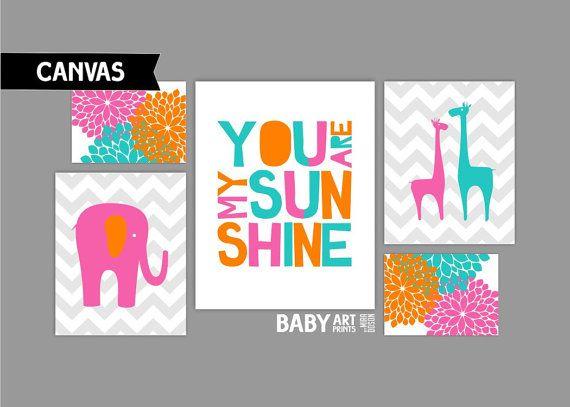 Hot Pink, Orange and turquoise, Girl Nursery Canvas Art Prints, You are my sunshine, Giraffe, Elephants, Set of 5 ( COHPOTDG ) ( CAMS014 )