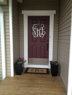 maroon front door with tan house - Google Search