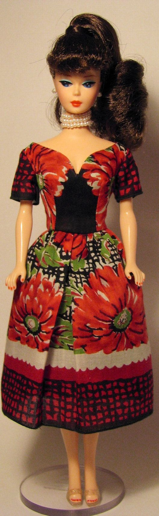 Red and black tea length dress for vintage Barbie by HankieChic on Etsy now
