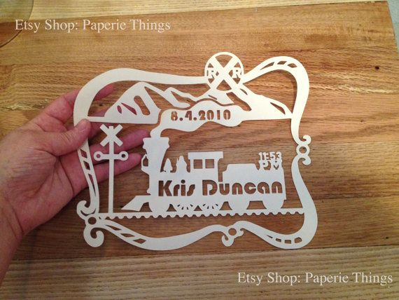 114 best birth announcements images on pinterest birth personalized train baby paper cut gift baptism by paperiethings negle Gallery