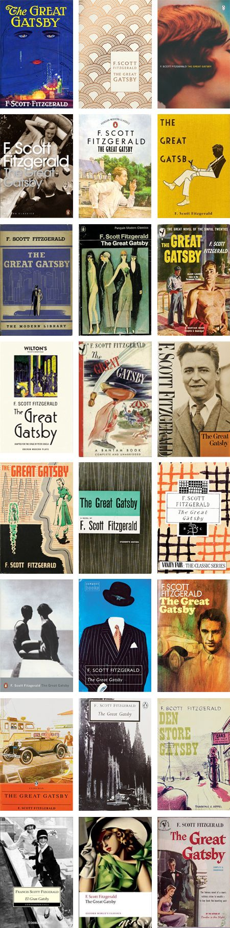 On April 10th, The Great Gatsby by F. Scott Fitzgerald, turned 87 years old. The original cover designed by Francis Coradal-Cugat, depicts a disembodied face floating in the night sky (top left). It is one of the prominent images in literature, but that hasn't kept book cover designers from trying to outdo the classic. Below, check out just some…