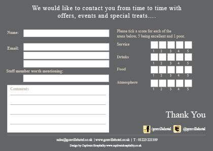 Gonville Hotel comment card