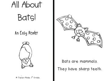 Supplement your bat unit with this easy reader!  Ideal for primary grades, kiddos will love learning simple facts about bats and being able to color the pictures!