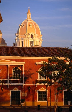 Dome of Cartagena de Indias' Cathedral and colonial architecture.