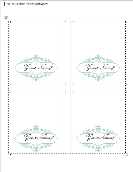 Place Card Template Word Pertaminico - Wedding invitation templates: wedding place card size