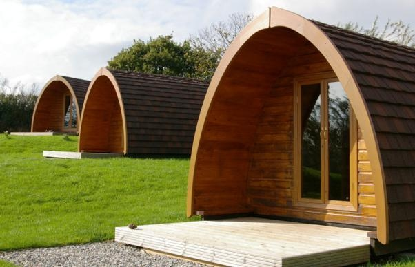 three of our camping pods at Meadow Lakes, enjoy the new 'Glamping Experience' in Cornwall