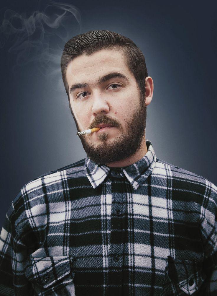 beard, cigarete, shirt. photo piotr grzywacz