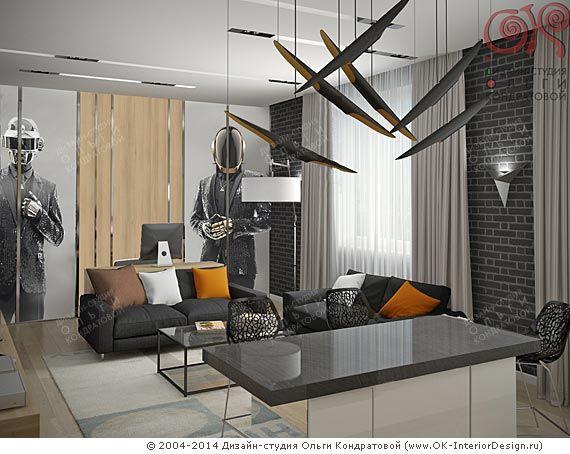 Гостиная-кухня-столовая для молодого человека, вид 2  http://www.ok-interiordesign.ru/blog/dizayn-odnokomnatnoy-kvartiry-dlya-molodogo-cheloveka.html