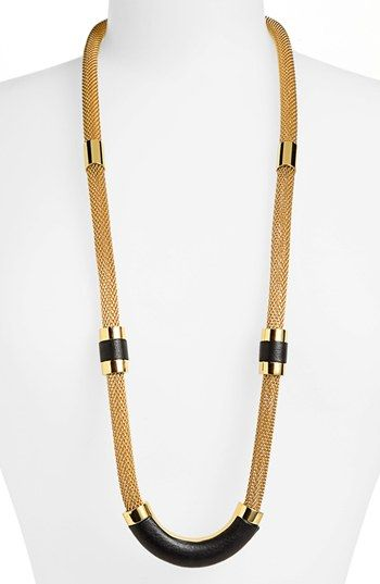 Vince Camuto 'Tour of Duty' Leather Detail Mesh Chain Necklace available at #Nordstrom