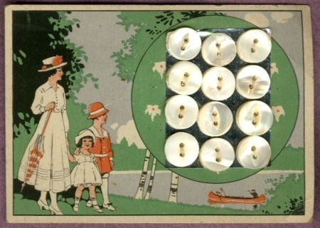"(::)  A family outing (unmarked pearl button maker).  As pinned by DiaNNe W. - ""Vintage Button Cards (::) CHILDREN"""