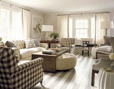 stripes and plaids by David Mitchell: Coffee Tables, Cottages Style, Living Rooms Decor, Paintings Wood Floors, Eating Places, Memorial Tables, Eating Houses, Paintings Floors, Buffalo Check