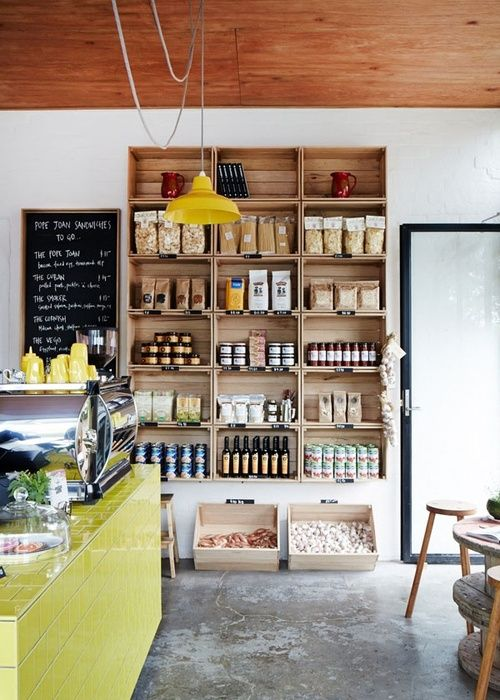 Cafe inspiration. Love the crates being used as shelving, using crates to display work is a popular form of display at craft fairs.  · Amazing Cafe Designs - Part 1