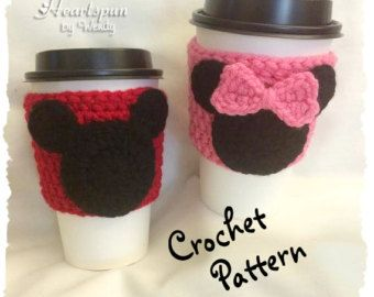 CROCHET PATTERN for Mickey Mouse and Minnie Mouse Coffee / Tea Cup Cozy and applique, Pdf Format, Instant Download.