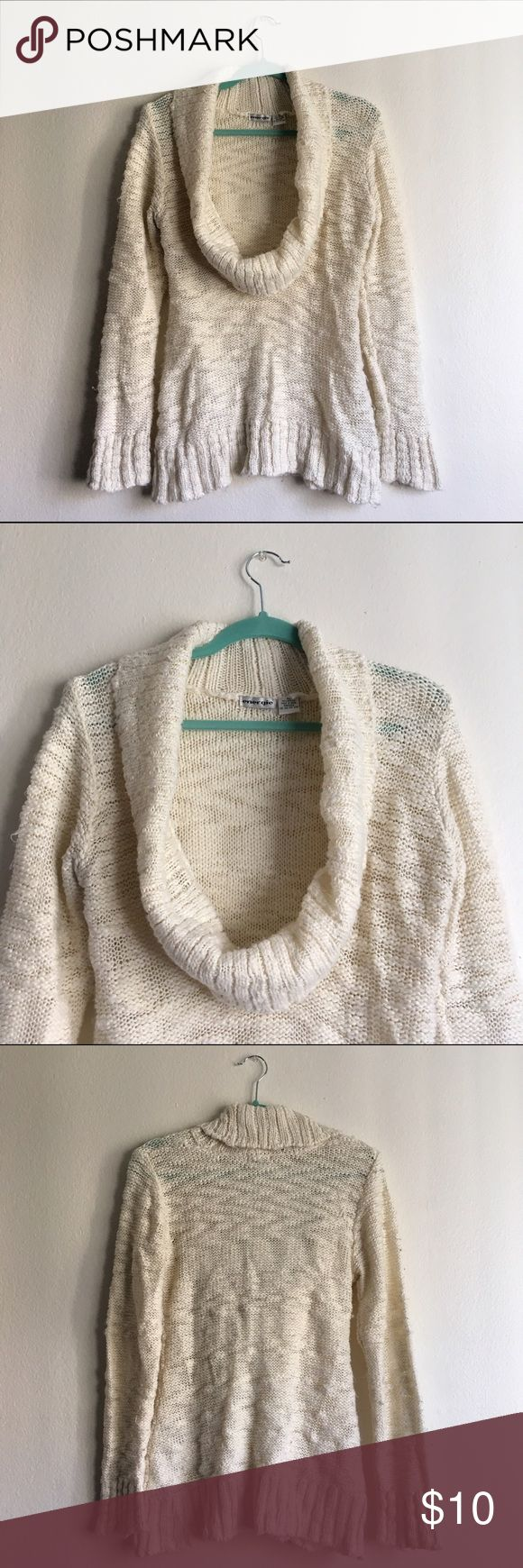 Cowl Neck Chunky Knit Sweater - Ribbed Energie - X-Large - Chunky knit off-white sweater with large cowl neck. Some pilling - will look like new with a quick touch up from a fabric shaver. No stains. Been in my closet forever, but I never end up wearing it. Perfect for winter! Warm and cute with jeans and boots. Energie Sweaters Cowl & Turtlenecks