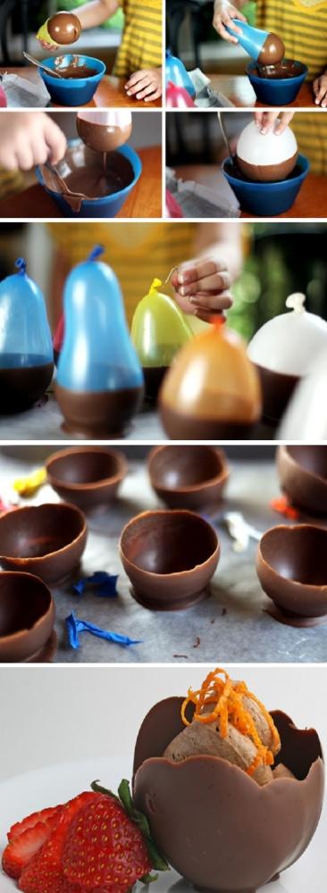 Edible chocolate ice cream cups