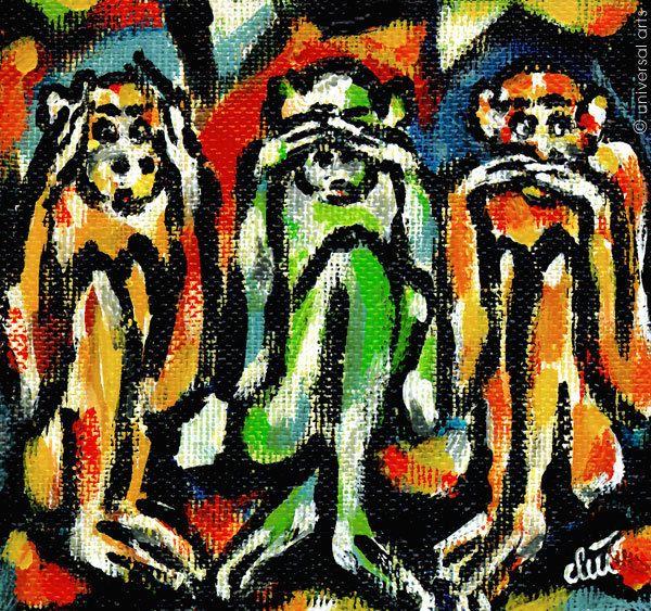 JACQUELINE DITT - Drei Affen A4 DRUCK n.Gemälde Bilder weise Affen wise monkeys