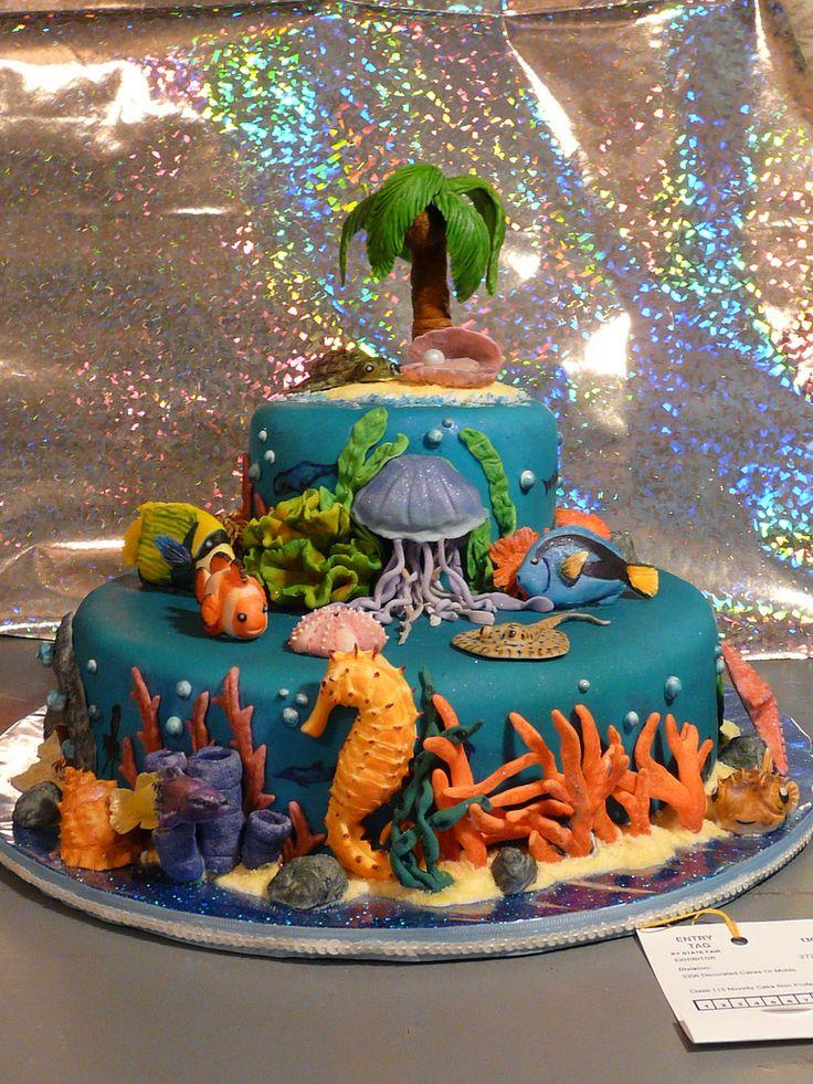 tarta fondant bajo el mar coolio cakes cake underwater cake ideas