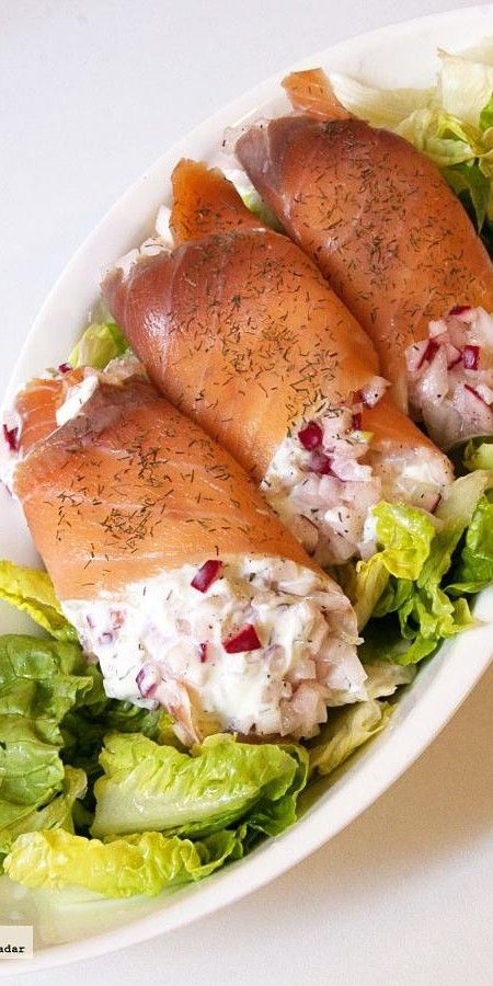 Receta de rollitos de salmón rellenos de queso