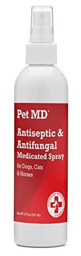 Pet MD - Antiseptic and Antifungal Medicated Spray for Dogs, Cats and Horses with Chlorhexidine, Ketoconazole, Essential Fatty Acids, Aloe and Vitamin E - 8 oz - Pet MD Medicated spray is an alcohol-free antiseptic (antibacterial and antifungal) formulation designed for dogs, cats and horses with dermatological conditions that are responsive to chlorhexidine and ketoconazole. It also contains Essential Fatty Acids and Vitamin E to nourish the skin and fur...
