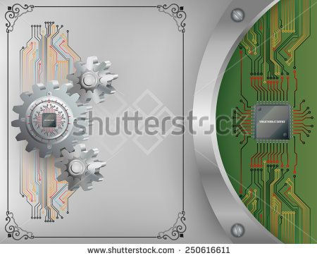 Abstract technology background;Processor Chip attached to circular metallic device nailed to cogwheel with screws and Electronic circuit connected at processor chip.