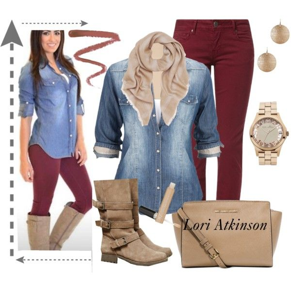 """""""Denim and Cinnamon"""" by latkins77 on Polyvore"""