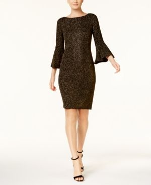 Calvin Klein Metallic Bell-Sleeve Sheath Dress, Regular & Petite Sizes, A Macy's Exclusive Style - Black/Gold 8P
