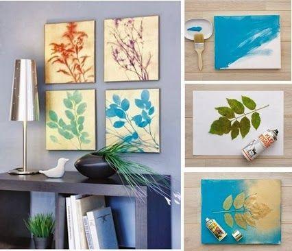 Cuadros hechos con spray y hojas secas manualidades - Manualidades faciles cuadros ...