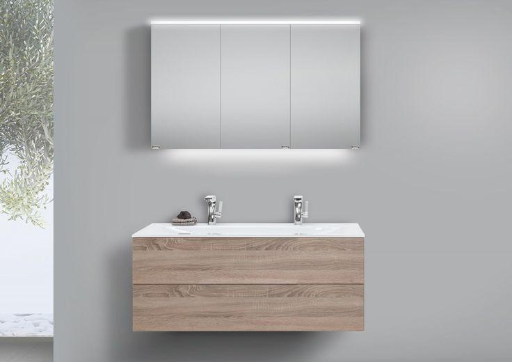 Glas- Doppelwaschtisch 120 cm Badmöbel grifflos mit Unterschrank und LED Spiegelschrank Jetzt bestellen unter: https://moebel.ladendirekt.de/bad/badmoebel/badmoebel-sets/?uid=62fd6946-5b1f-5663-88ae-049b71559740&utm_source=pinterest&utm_medium=pin&utm_campaign=boards #bad #badmoebel #badmoebelsets #waschtischsets