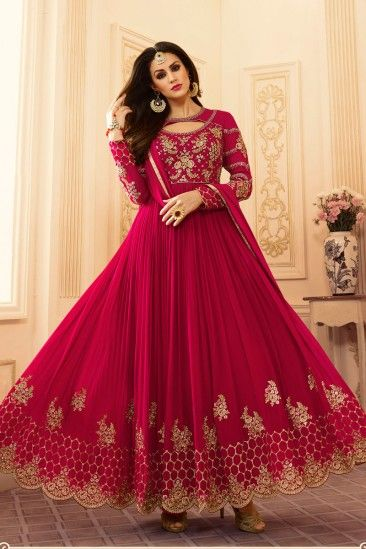 Bollywood Dark Pink Georgette Anarkali Churidar Suit With Dupatta - DMV15384  #bollywooddresses #anarkalisuits #churidarsuits #fashion #shopping