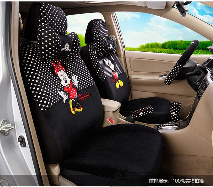 New Mickey Minnie Mouse Car Seat Covers Cushion Accessories Set 18PCS TL 5133 Steering Wheel
