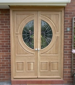 Double door assembly in oak with specially commissioned glass and UV protection oil finish & 13 best Door assemblies images on Pinterest | Carpentry Joinery and ...