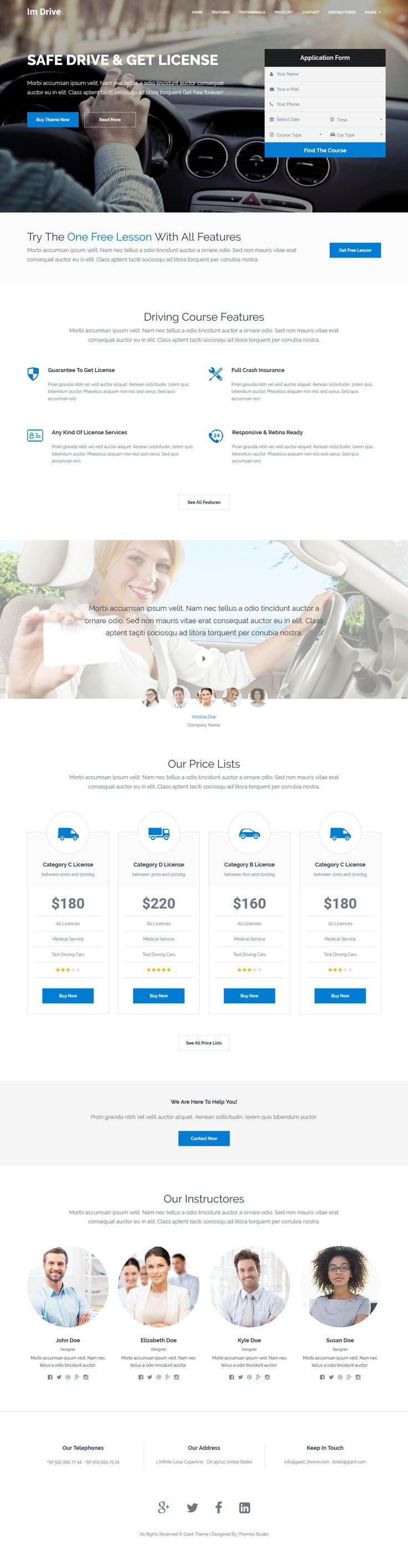Im-Drive Driving Classes, Courses Landing Page Template. Live Preview & Download: https://themeforest.net/item/imdrive-driving-classes-courses-landing-page-template/16563526?ref=ksioks