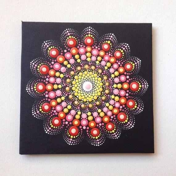 Original Mandala Painting 15x15cm on Canvas, Painting, Office and home ornament Henna art Gift Dotilism Dotart, Blue mandala