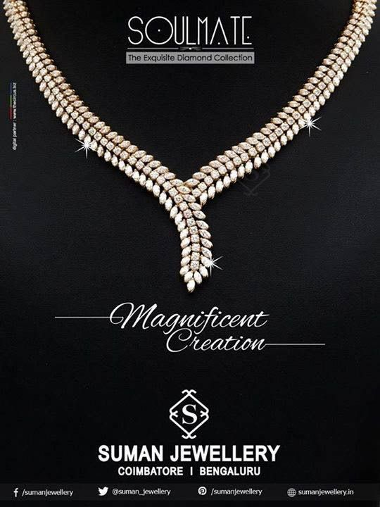 Add splash look by wearing the exclusively crafted twinkling diamond necklace form Suman jewellery #sparkle #diamond #lovefashion #stones
