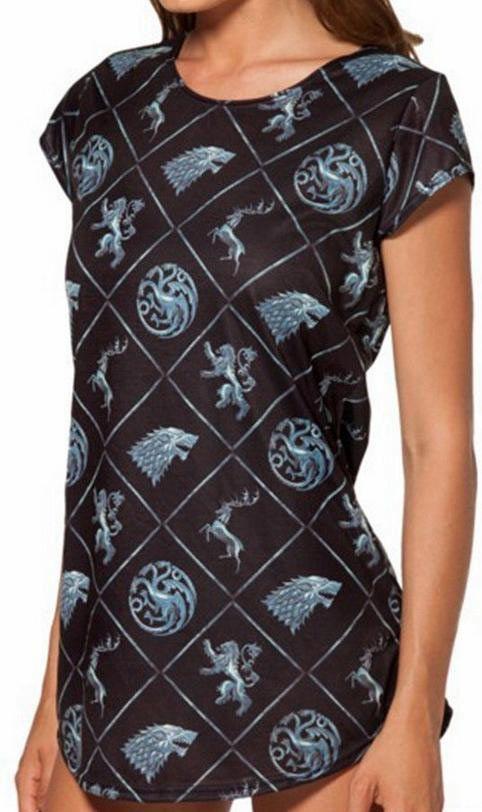 Camiseta chica Logo Reinos. Juego de Tronos Original camiseta que, por su medida podrás usar como mini vestido. Basada en la gran serie de Tv Juego de Tronos.