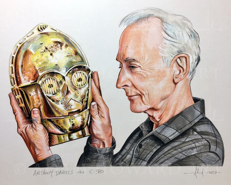 """ANTHONY DANIELS  aka C-3PO, Star Wars   Illustration © Adam Howard 2017 Medium is Color Pencil, Prismacolor Marker, Copic marker and acrylic paint on acid free Strathmore Drawing paper. Dimensions are 10"""" wide by 8"""" high  #adamhowardart #anthonydaniels #c3po #droid  #starwars #jedi #theforce #usetheforce #movies #film #blockbuster #hollywood #adamhoward #illustration #portraits"""