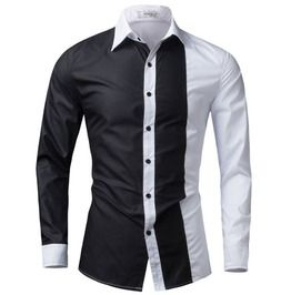 Two Colored Patchwork Long Sleeve Slim Fit Dress Shirt Men 137651