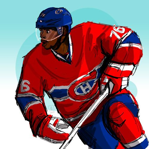 player-a-day february: pk subban,montreal canadiensnew project! this february i'm going to be drawing one (sometimes two) nhl players a day. no guarantees how sketchy/finished each will be. we're starting with pk!