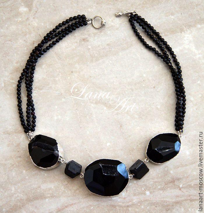 """Купить ОЖЕРЕЛЬЕ """" НОЧЬ НЕЖНА"""" - черный, Ожерелье из камней, ожерелье, Ожерелье ручной работы"""
