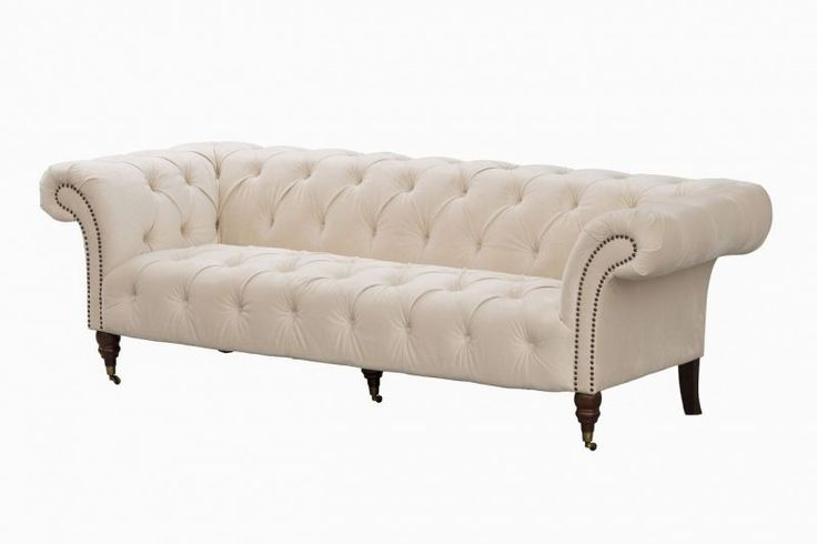 Sofa Chesterfield Glamour Velvet Cream   #dekoriapl #sofa #chesterfield #furniture #livingroom #aksamit #style #beautiful #design #