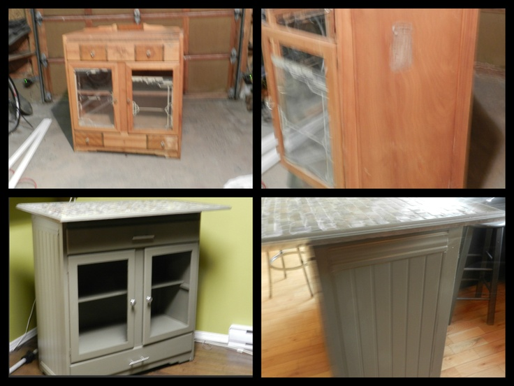 An Old 50 S China Cabinet Turned Into A Kitchen Bar With