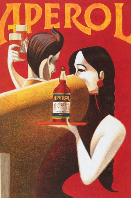 "Vintage Italian Posters ~ #Italian #vintage #posters ~ Aperol ""Randez-Vous"" Poster, by Lorenzo Mattotti"