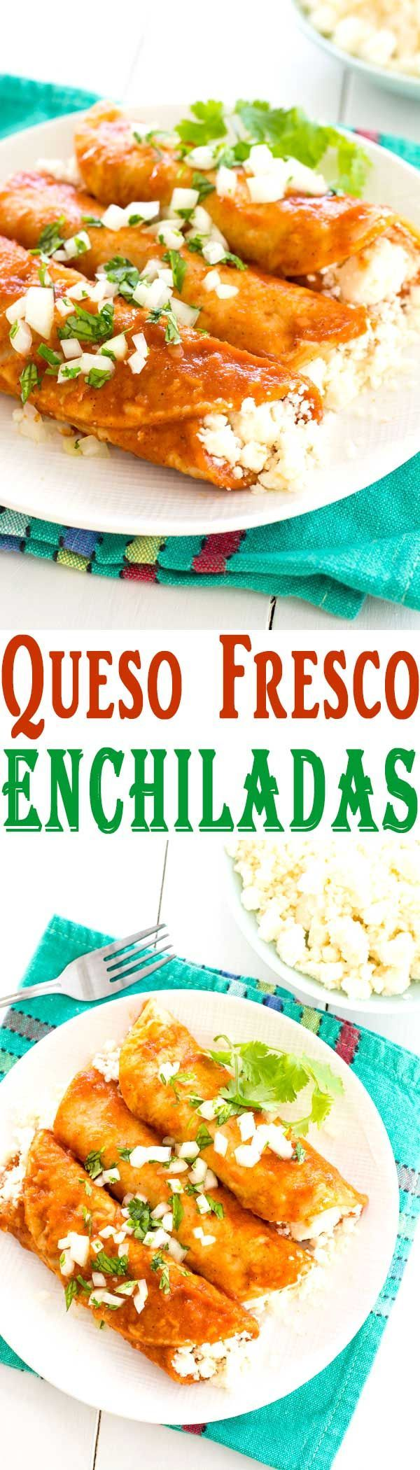 Queso Fresco Enchiladas - the best cheese enchiladas with red sauce are so easy! #dinnerrecipes #mexicanfood #vegetarian #recipeoftheday