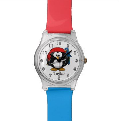 Cute Funny Cartoon Pirate Penguin Personalized Wrist Watch - teenager birthday gift idea present teens party