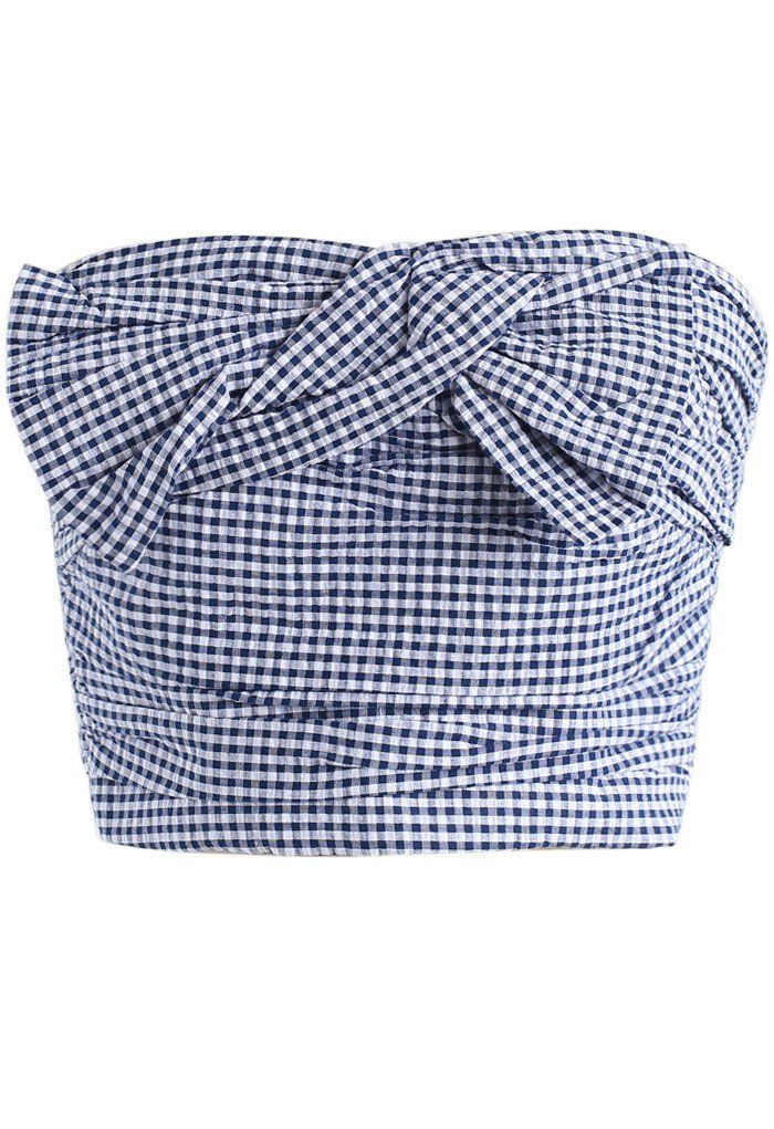 Sweet Knot Bustier Top in Gingham - New Arrivals - Retro, Indie and Unique Fashion