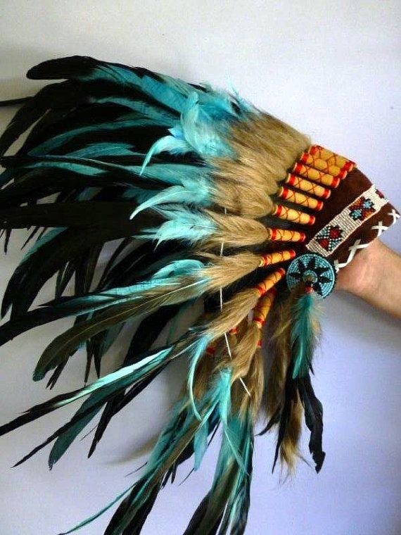 For Children: Indian Turquoise and dark Feather Headdress